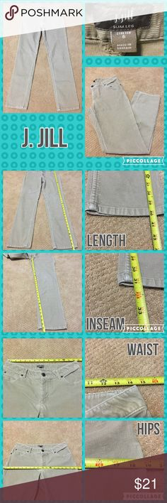 Listing J. Jill Slim Leg Corduroy Pants Measurements are in photos. Normal wash wear, no flaws. A3/23  Ask about a bundle discount on all items that are not ⏰Flash Sale items! I ship everyday. I always package safely. If I run out of boxes, I will use priority bags over a polymailer bag. If you prefer to only receive this great item in a box, please let me know! Thanks! J. Jill Pants Skinny