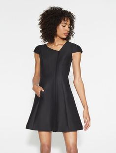 Silk Faille Asymmetric Neck Dress