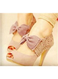 New Pink Sweet Bowknot Peep-toe Lace Flowers Romace - these are adorable! Find them at dressve.com
