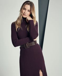 Make a statement in the colour of the season with the Stephanie Dress in plum. As for how you style it, the choice is yours! Bridget styles hers with the Olivia Belt. Plum, Your Style, Turtle Neck, Belt, Colour, Winter, Sweaters, How To Make, Dresses