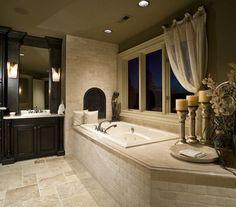 Brick Tub Master Bath - love the pillows, curtain, platter for towels