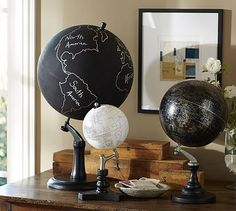 Chalkboard Globe #potterybarn. DIY Hack: thrift a globe, paint base black and chalkboard paint the globe
