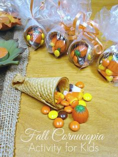 Easy Cornucopia Activity Linda Griffin gmagreenhouse Fall Holidays It is that time of year when fall activities and crafts are in the making. Here is a fun activity for trick or treaters or Thanksgiving that the kids will love making! Fall Treats, Holiday Treats, Halloween Treats, Holiday Fun, Fall Party Treats For Kids, Fall Party Ideas, Fall Party Favors, Easy Halloween, Thanksgiving Crafts For Kids