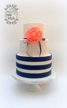 Navy Stripes and Coral Peony Wedding Cake with pleated middle tier