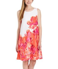 Look what I found on #zulily! White & Coral Floral Shift Dress #zulilyfinds