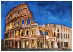Coliseu em Aquarela Pisa, Tower, Building, Shop, Painting, Travel, Art, Saint George, Pen And Wash