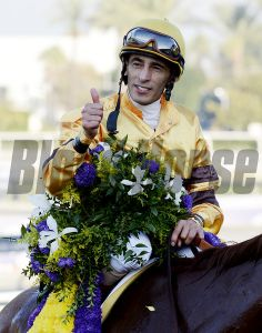 Wise Dan with jockey John Velazquez runs away from the field to win the Breeders' Cup Mile(T) in a course record time at Santa Anita Park in Arcadia, California November 3, 2012. Photo by Skip Dickstein