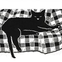 'Cat nap' - black cat sleeping - Original linocut print  £28.00