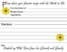 Wedding Recipe Cards Yellow Daisy Design 40 Cards - Bridal shower invitations (*Amazon Partner-Link)