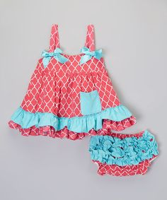 Look what I found on #zulily! Turquoise & Hot Pink Quatrefoil Dress & Bloomers - Infant by Diva Daze #zulilyfinds