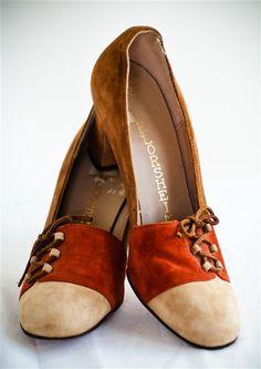 Vintage Suede Tri-Tone Florsheim Women's Heels - 5.5 AA. $42.00, via Etsy.