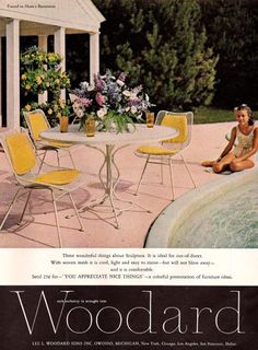Woodard Furniture aluminum, woven and iron outdoor furniture and accessories. Iron Patio Furniture, Outdoor Wicker Furniture, Rustic Furniture, Vintage Furniture, Outdoor Decor, Painted Furniture, Modern Furniture, Modern Patio, Mid-century Modern