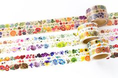 A beautiful flower die-cut washi masking tape from Yano Design. These tapes are perforated, you can torn them into 3 different sizes (10mm、6mm、14mm). This listing is for one of the beautiful flower Series at your choice from different colors.  The masking tape is unique in that it can be pulled on and off numerous times and leaves no residue or paper tears. A perfect and fun way to adorn any gift, lunch bag, journal or scrapbook. Also can be used as labels or decorative element on anything…