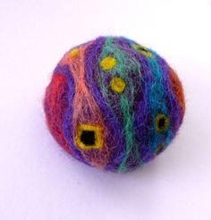 Felted purple wool pin cushion Gustav Klimt Emilie by astashtoys