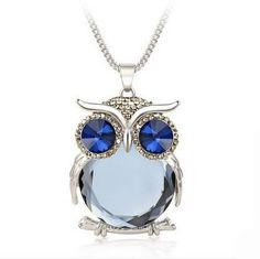 2016 New Fashion Statement Owl Crystal Necklaces Pendants For Women Gold & Silver Chain Long Jewelry