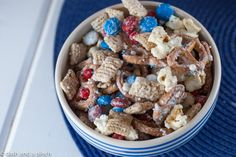 party, chex, mix, patriotic, flag, red, white, blue, white chocolate, sprinkles, easy, snack