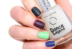 Dance Legend - Top Sahara (shown here over, from index to pinkie: Essie - Licorice, OPI - In The Cable Car-Pool Lane, IsaDora - Poseidon, OPI - Dating A Royal.)