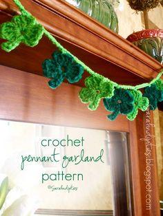 Crocheted Shamrock Garland Pattern