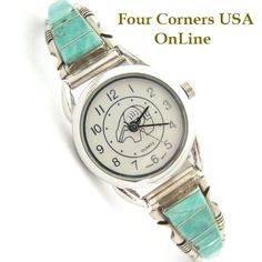 Four Corners USA Online - Women's Turquoise Inlay Sterling Watch Bear Motif Face Native American Jewelry Steve Francisco, $107.00 (http://stores.fourcornersusaonline.com/womens-turquoise-inlay-sterling-watch-bear-motif-face-native-american-jewelry-steve-francisco/)