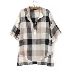Black Beige V Neck Plaid Loose Blouse featuring polyvore, women's fashion, clothing, tops, blouses, multicolor, embellished blouses, loose fitting blouses, short sleeve tops, loose blouse and tartan blouse