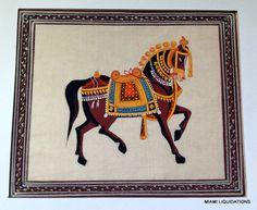 Mughal Royal Horse Miniature Painting Udaipur India Silk Watercolor   eBay