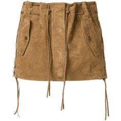 Saint Laurent tasselled suede mini skirt ($2,550) ❤ liked on Polyvore featuring skirts, mini skirts, brown, short suede skirt, short skirts, lace up suede skirt, lace up mini skirt and straight skirt