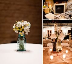 Centerpieces using cheap mason jars and wine bottles