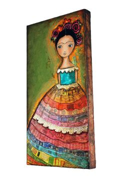 Frida  Original Mixed Media Painting Collage on by FlorLarios, $250.00