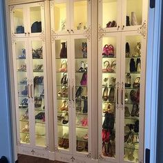 Custom French Shoe Cabinets with Glass Shelves