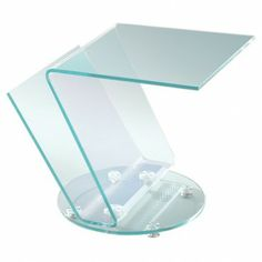 Modern Clear Bent Glass Side Table with Magazine Rack Laurence