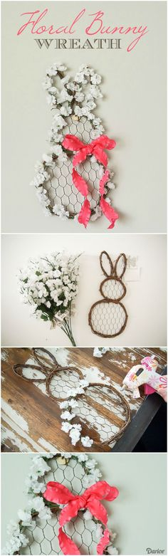 This cute little bunny wreath DIY decoration is so easy to put together and adds a wonderful touch of spring charm to your home decor. #DIYHomeDecorSpring