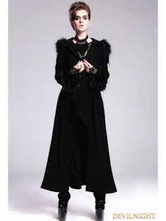 Black Gothic Hooded Long Coat with Fur - Devilnight.co.uk