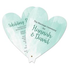 Heart Wedding Program - Use the A7 Card Mats-Heart Pinnovation die to create a unique wedding invite.