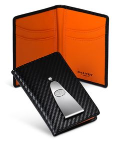 Dalvey Continental Card Money Clip Black Red Geometric RFID Italian Leather