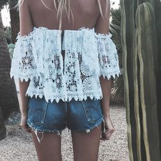 summer fashion, summer style, white lace, boho style, off the shoulder, denim cutoffs, outfit idea, trendy