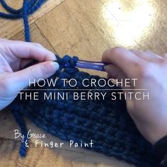 "How to Crochet the Mini Berry Stitch Quick How-To! 📝 The mini berry stitch is made up of three chains inside of a single crochet & adds cute ""mini berries"" t. Crochet Unique, Easy Crochet, Crochet Hooks, Knit Crochet, Modern Crochet, Crochet Pillow, Crochet Blankets, Double Crochet, Crochet Stitches Patterns"