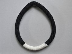 Crochet necklace in black and beige simple necklace by Loulalalou
