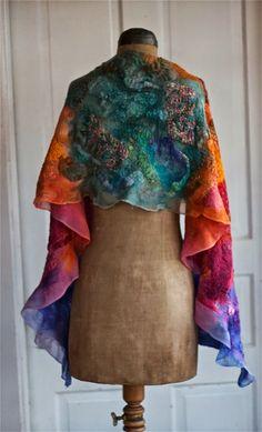 nuno felt shawl from Dalis at Dancing Leaf Farm. Sedona Sunset