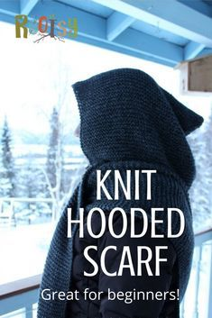 DIY Easy Knit Hooded Scarf with Video and Free Pattern - Knitting Projects Hooded Scarf Pattern, Crochet Hooded Scarf, Knit Scarf Patterns, Crochet Patterns, Loom Knitting, Knitting Patterns Free, Free Knitting, Knitting Stitches, Hood Pattern