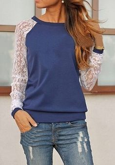 Blue Patchwork Lace Sweet Pullover Sweatshirt, love the combo of lace sleeves and sweatshirt