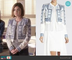 Aria's blue and white studded jacket on Pretty Little Liars.  Outfit Details: https://wornontv.net/55379/ #PLL