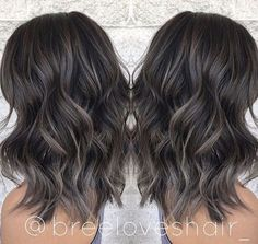 100 dark hair with heavy platinum highlights perfect when you're going grey page – dyed hair Ash Brown Balayage, Balayage Brunette, Brunette Hair, Ash Brown Highlights, Balayage Hair Dark Black, Balayage Hair Ash, Brunette Highlights, Balyage For Black Hair, Lowlights For Black Hair