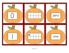 FREE Set of number cards with a pumpkin theme, 0-10. Three cards for each number - the number, a ten-frame representation, and the number word. Use for recognition, sequence, memory games, hiding and finding games, and of course, matching.