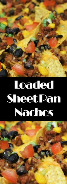 These Loaded Sheet Pan Nachos are easy to make and absolutely delicious. Corn tortilla chips are loaded up with flavorful turkey taco meat, black beans, corn, black olives, green onions, tomatoes, and of course, cheese. Serve them with some sour cream and an assortment of hot sauce on the side. This recipe makes a nice big batch so it's perfect when you're entertaining for game day, movie night or with some cocktails on the weekend.