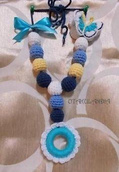f9cd25c9c collar de lactancia primavera azul - crochet lana hipoalergénica
