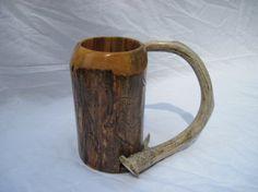 Wooden mug, antler handle, beer mug, beer stein, wood tankard, SCA tankard, rustic mug, mountain man, ren fair