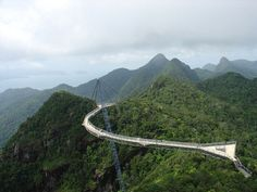 Langkawi sky-bridge in Malaysia is suspended at 700 metres above sea level and spans 125 across the mountains