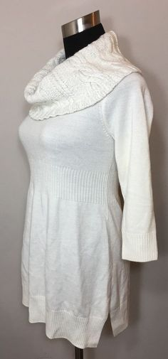 New York Company Womens Size XS Sweater Off White Cowl Neck Silver Sparkle #NewYorkCompany #CowlNeck #Everyday