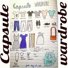 Did my capsule wardrobe for our trip in the summer! 25 items total #bujo…