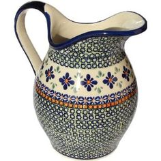 Polish Pottery Pitcher - We'll have Polish Pottery at the market, pitchers, pie plates, bakers, and more.